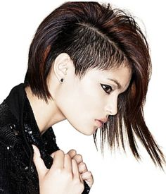 Punkish women hairstyle with very long on one side and very short on the other.PNG