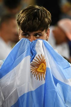 An argentinian fan reacts after the men's singles gold medal tennis match…