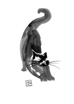 Superb Sumi-e Technique Paintings by Pechane – Fubiz Media Watercolor Animals, Watercolor Art, Ink Illustrations, Illustration Art, Sumi E Painting, Let's Make Art, Japanese Cat, Religious Paintings, Zen Art