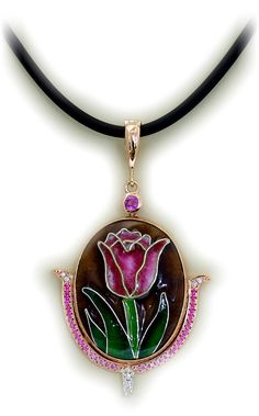 Tulip Cloisonne pendant set in rose gold with diamonds and pink sapphires
