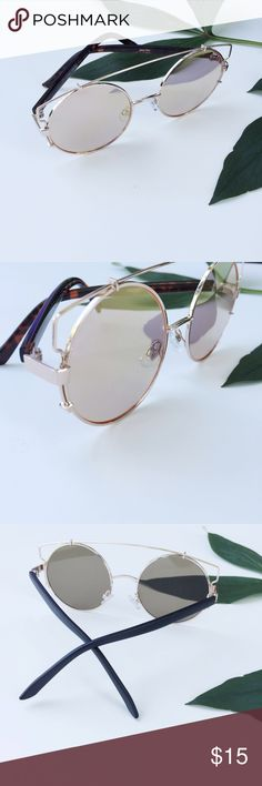 NWT || Rose Gold Wire Brow Bar Round Sunglasses NWT. Rose Gold Wire Round Brow Bar Sunglasses. Retro style. Mirrored lenses. Price is firm unless bundled. Bundle 4 and save 20%. Accessories Sunglasses