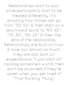 """Not only with couples, but many friendships are built on expectations. So many relationships & friendships are decimated yearly by one party or both party's decision to fall short on the expectations of another that they helped to create! If you start it that way, then they probably want you to keep it up! Once you leave someone """"Leftovers"""" in the expectation department, then your ship is headed for rocky ground."""