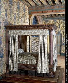 Canopy bed, supported by four fluted columns, from the room of Henry III, King of France from 1574 to 1589, Chateau de Blois, France, 16th century .