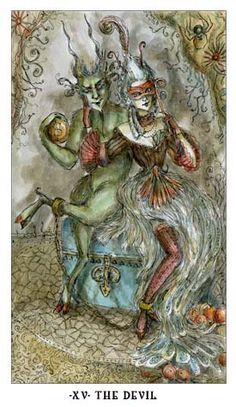 The Devil - The Art of Paulina Cassidy THE DEVIL Greed, egoism, entrapment, procrastination, caught up in temptation, awareness of addictions. Reversed: Breaking away from bad habits, resisting negative influences.