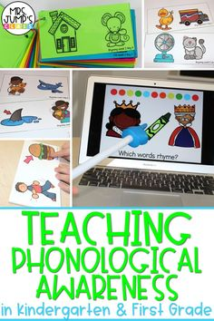 When teaching phonological awareness in kindergarten and first grade, it is important to do a variety of activities that practice skills like rhyming, syllables, and more. These phonological awareness activities can be used to practice those early literacy skills!