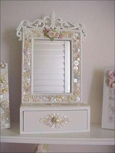 dresser top mirror button mosaic with china mosaic by Enchanted Rose Studio, via Flickr