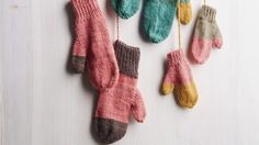 Our classic hand-knit mittens cheer up chilly days, thanks to playfully mismatched color-block patterns. Buy at least two skeins of yarn in different but coordinating colors (two skeins are enough to make one pair of women's and one pair of kids' mittens), or use leftover yarn from your knitting basket. The mittens make sweet holiday gifts, so start now—and let your imagination dictate the design.