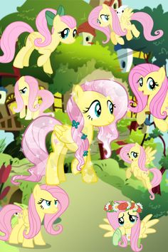 The many hair styles of Fluttershy. I love the pony tail (hehe PONY tail) and the crystal