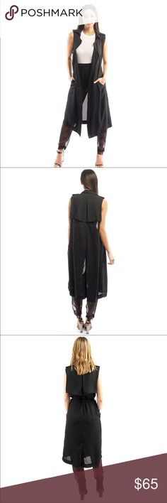 IN STOCK! ✨SHEER SLEEVELESS DUSTER✨ 100% POLYESTER                                                                                        SHEER                                                                                                          SIDE POCKETS                                                                                           STRING TO TIE AROUND WAIST Mustard Seed Jackets & Coats