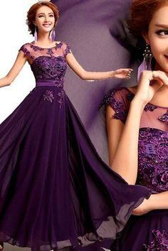 2015 Scoop Prom Dresses A Line Chiffon With Applique And Ribbon USD 126.99 STPL4RFLRR - StylishPromDress.com