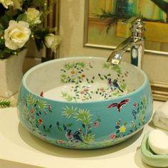 Jingde ceramic bathroom wash basin art bell shaped blue and white flowers - bathroom wash basin - wash basin - art wash basin - AliExpress Dream Bathrooms, Beautiful Bathrooms, Luxurious Bathrooms, Bathroom Small, Bathroom Basin, Master Bathroom, Deco Originale, Interior Design, Interior Decorating