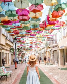Umbrella Street, Umbrella Art, Portugal Travel Guide, Portugal Trip, Weekend In Miami, Permanent Vacation, Destinations, Visit Portugal, Foto Pose