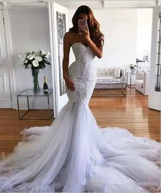 Babyonlinewholesale custom made this cheap mermaid sleeveless halter wedding dress, we sell dresses online all over the world. Also, extra discount are offered to our customers. We will try our best to satisfy everyone and make the dress fit you well. Beautiful Wedding Gowns, Dream Wedding Dresses, Bridal Dresses, Beautiful Dresses, Bridesmaid Dresses, Prom Dresses, Halter Wedding Dresses, Beautiful Beautiful, Glamorous Wedding