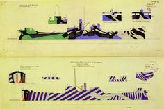 Dazzle camouflage used in WW1 & 2 by the Allied navies. Used to confuse the enemy as they would have difficulty distinguishing size and type of craft or the direction it was moving.