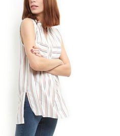 White Stripe Double Pocket Grandad Collar Sleeveless Shirt  | New Look