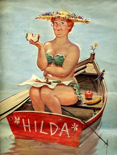 Meet Hilda, the creation of illustrator Duane Bryers and pin-up art's best kept secret. Voluptuous in all the right places, a little clumsy but not at all shy about her figure, Hilda was one of the only atypical plus-sized pin-up queens to grace the pages of American calendars from the 1950s up until the early 1980s