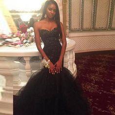 Black Mermaid Prom Dresses, Custom made Beading Sweetheart