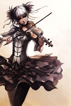 """Violin Girl"" digital art by Kirk Quilaquil."