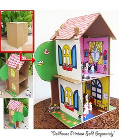 Cardboard Dollhouse PDF Pattern Recycle Cardboard Boxes Diy Toy House Paper…
