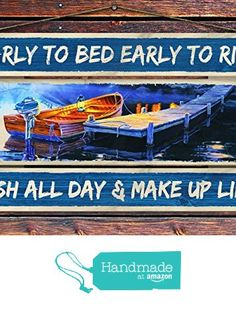 """""""Early to Bed, Early to Rise - Fish All Day & Make Up Lies"""" - 8""""x12"""" 3 Piece Reclaimed Pallet Wood Sign - Handmade in Nashville, TN from Sawyer's Mill Inc. http://www.amazon.com/dp/B01AHND510/ref=hnd_sw_r_pi_dp_ohyUwb17PH639 #handmadeatamazon"""
