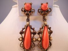 Vintage Tangerine/Orange Lucite & Faux Pearl by Lavendergems, $23.00