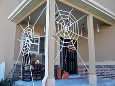 Spider Webs from Lowes & Micheals, but looks like you can make them from rope