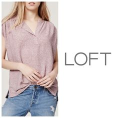 NWT LOFT Dusty Rose Speckled Split Neck Blouse MP In a lightly flecked finish, we heart the gorgeously relaxed feel of this shirred style. Split neck. Short dolman sleeves. Shirred at front and back yoke. Roll cuffs. Side slits. Polyester. Machine wash. Size Medium PETITE. LOFT Tops Blouses