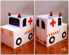 Cardboard boxes make great creations. Making a cardboard box ambulance to enhance the hospital theme dramatic play. Cardboard Car, Cardboard Box Crafts, Cardboard Castle, Preschool Crafts, Diy Crafts For Kids, Preschool Age, Carton Diy, Diy Karton, Ideas Para Fiestas