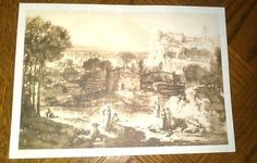 Vintage Black and White Country drawing lake by dannysdepot