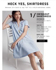 Madewell: Flash poll: This dress or that dress? Hot Days, Graphic Design Inspiration, Editorial Design, Madewell, Shop Now, Web Design, Feminine, Shirt Dress, Coupon Codes