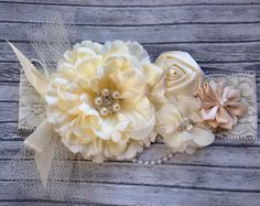 Vintage style ivory silk satin lace headband,netting, ivory headband-newborn, Great Gatsby ,photo prop-flower girl-bridal   flower girl head band