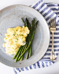 Soft Scrambled Eggs with Goat Cheese and Asparagus | A Couple Cooks
