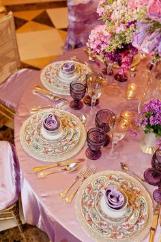Pink and purple place settings.