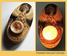 Pyrography Phoenix Tealight Holder by *BumbleBeeFairy on deviantART