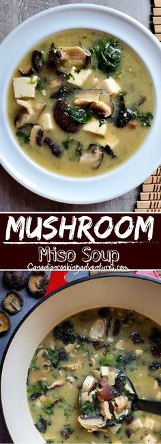 #japanese #mushroom #soup #shitiki #spinach #nori #seaweed #tofu #mushrooms #keto #soup #soups Healthy Soup Recipes, Chili Recipes, Asian Recipes, Vegetarian Recipes, Vegan Soups, Tofu Recipes, Potato Recipes, Dinner Recipes, Cooking Recipes