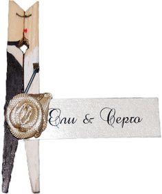 Декорирани Дървени Щипки Младоженци на Цени от 1 лв