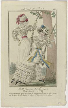 Anonymous   Petit Courrier des Dames, 1824, No. 246 : Robe de mousseline..., Anonymous, Dupré (uitgever), 1824   Vrouw, zittend op een schommel, gekleed in een japon van mousseline, afgezet met puntige stroken stof met een boordsel van ruches van tule. Het lijfje is versierd met ruches van tule. Op het hoofd een hoed van crêpe, versierd met pioenrozen en linten. Verdere accessoires: handschoenen, ceintuur met vierkante gesp, schoenen met puntige neuzen en gekruiste banden. Links staat een…
