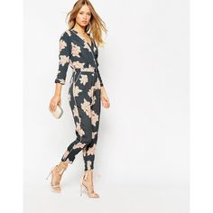 ASOS Floral Printed Piped Wrap Jumpsuit (61 AUD) ❤ liked on Polyvore featuring jumpsuits, multi, v neck jumpsuit, floral print jumpsuit, high waisted jumpsuit, white jump suit and asos jumpsuit