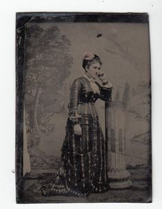37458 Circa 1800s Tintype Photo of Woman in Dress Leaning on A Post | eBay