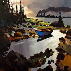 Blue Boat Rivers Inlet, by Michael O'Toole Landscape Art, Landscape Paintings, Blue Boat, Modern Landscaping, Acrylic Art, Awesome Art, Painting Inspiration, Acrylics, Pantone