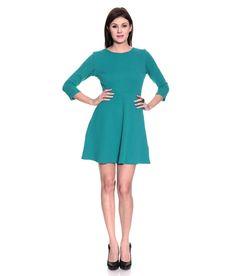 Remanika Green Skater Polyester Short Dresses