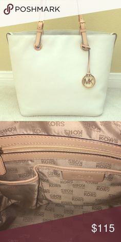 Michael Kors Summer Tote Handbag Ivory leather tote bag with beige handles and gold buckle accents. Spacious interior with multiple pockets. Like new and comes with a gold MK accessory (pictured above). Michael Kors Bags Totes