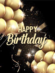 Shining Golden Birthday Balloon Card