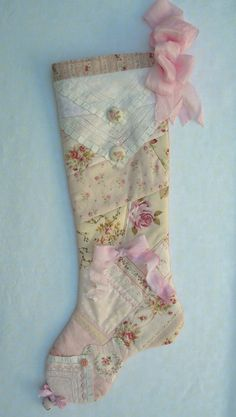 Quilted Pink Patchwork Christmas Stocking a by paintedquilts