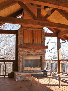 outdoor covered high deck with fireplace | Covered Deck With Fireplace 1