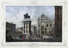 Venezia, monumento Bartolomeo Colleoni a SS. Giovanni e Paolo (National Library of Poland - 1847, lithography)