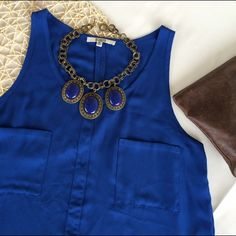 """BB Dakota Tank Blouse Sleeveless tank tunic blouse from BB Dakota. 100% polyester, silky smooth. Really brilliant royal blue color. Front pockets and slit in back hem. Sz Med- Chest 19.5"""", Length 29"""". EUC, no notable flaws. Offers considered. ❌no offsite transactions BB Dakota Tops"""