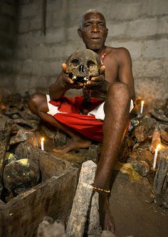 Benin, West Africa, Bopa, dah tofa voodoo master showing the skulls criminals killed by heviosso the god of thunder that he collects   Flickr - Photo Sharing!