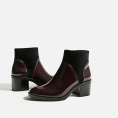 CONTRAST HIGH HEEL ANKLE BOOTS-Ankle boots-SHOES-WOMAN | ZARA United States