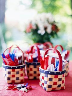 Organize utensils with red, white, and blue baskets for a patriotic picnic. More 4th of July picnic ideas: http://www.bhg.com/holidays/july-4th/crafts/patriotic-picnic-serving-ideas/?socsrc=bhgpin061212